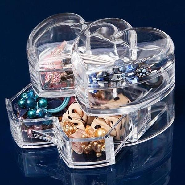Heart Shaped Clear Jewelry Cosmetic Organizer Storage Box