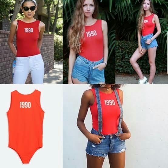 New Zara 1990 Red Bodysuit