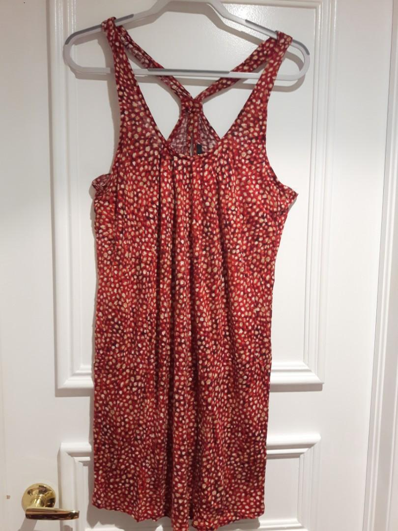 H&M Large  Orange/Red Dress for beach wear, vacation etc Size L