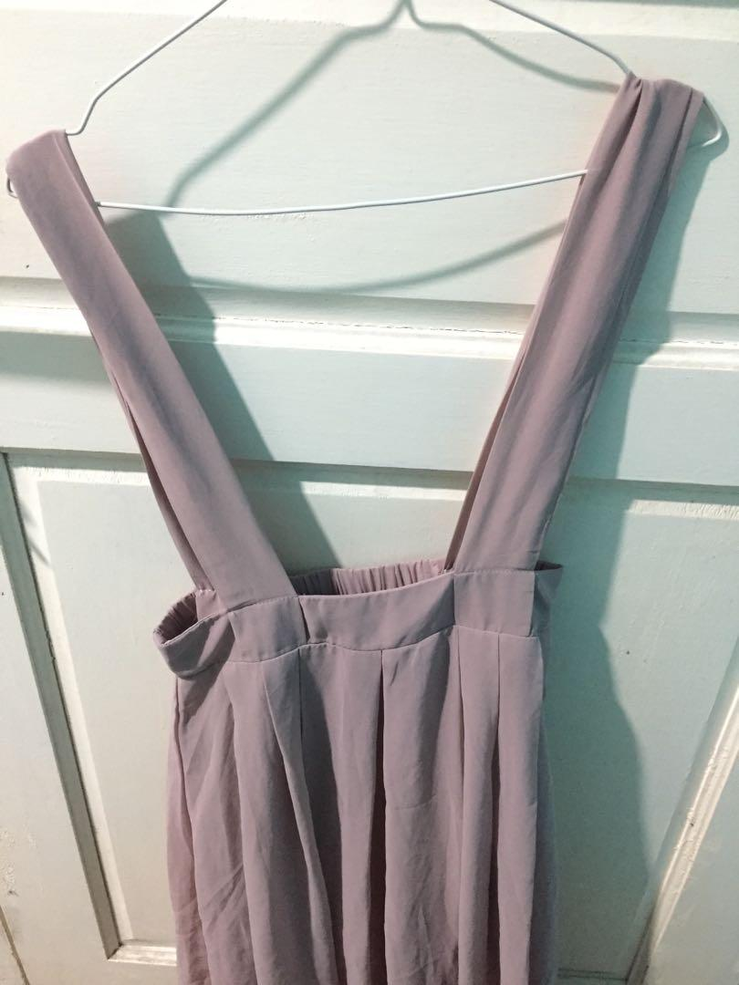 Overall Long Dress Mocca Pink Brown All size polyester chiffon