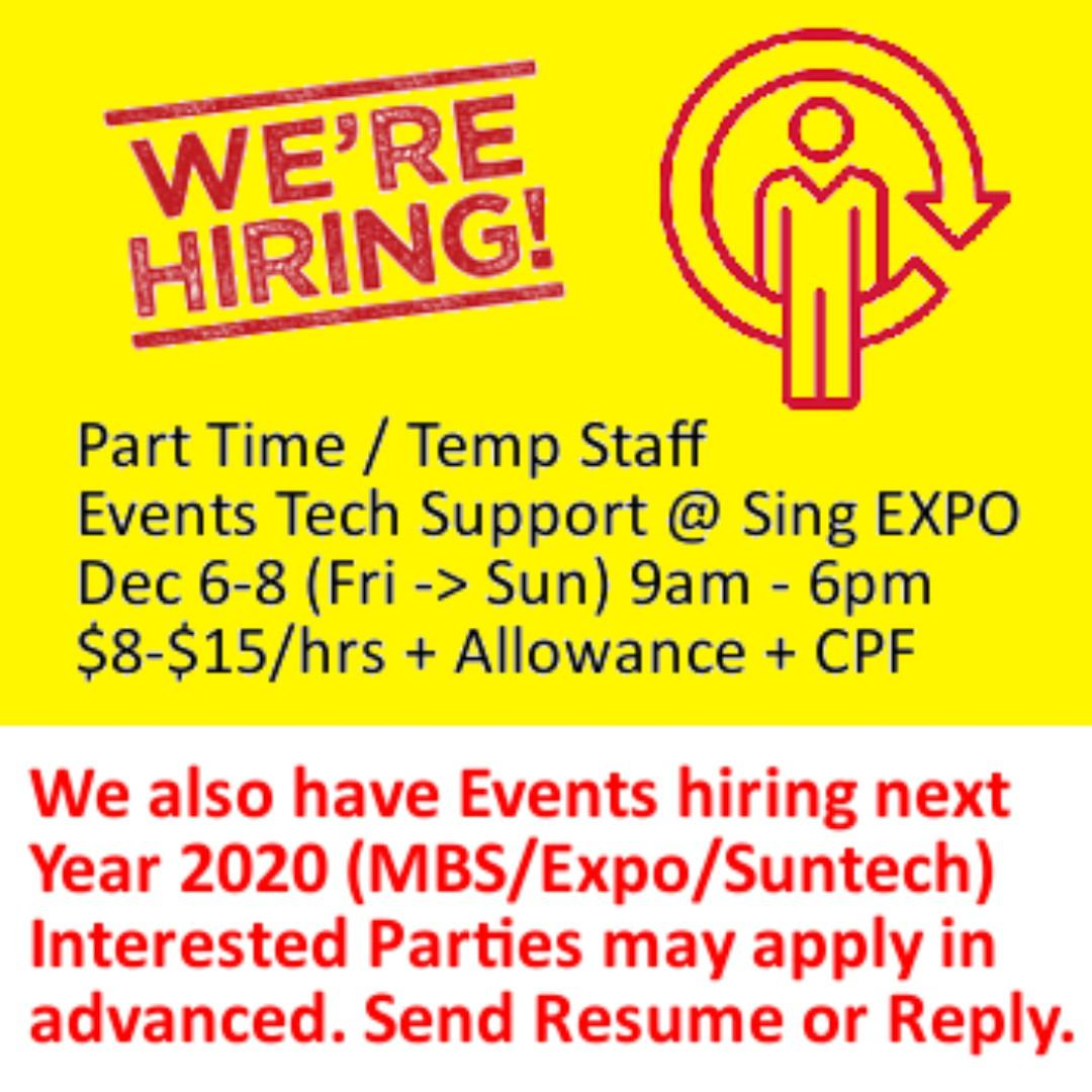 Part Time Event IT Support for Event @ Expo