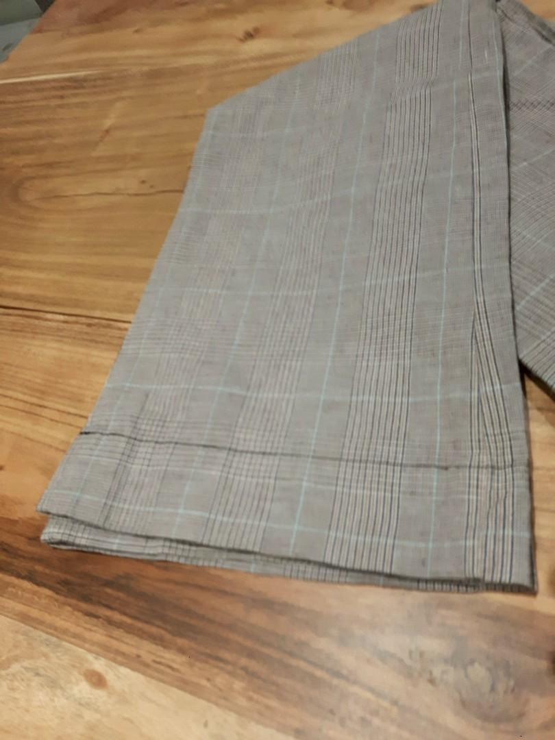 PLAID PANTS FITTED WIDE LEG BOTTOM SIZE 1 LOW RISE