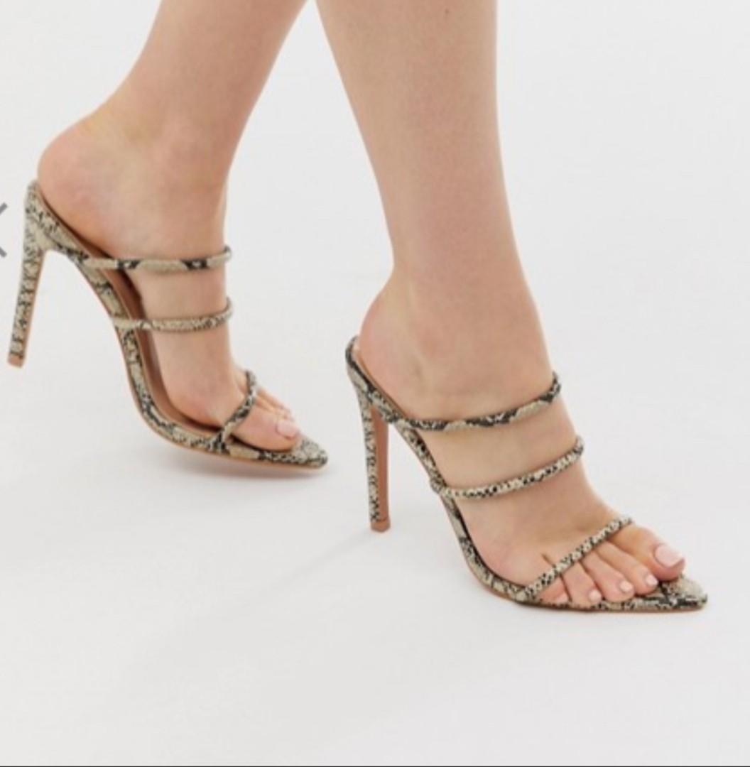 Snake Skin Pointed Open Toe Heels