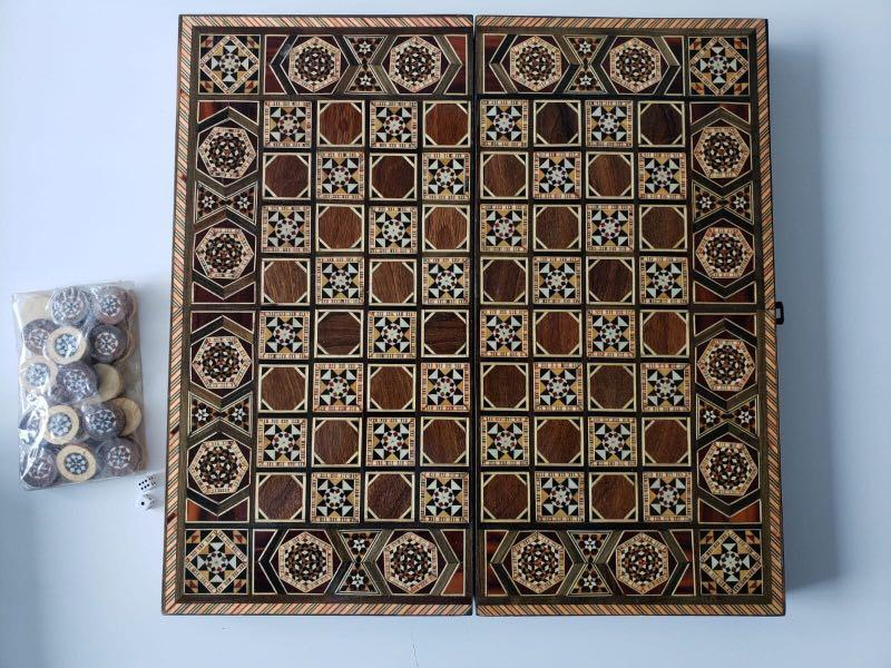 Syrian Mosaic Backgammon / Mosaic / Marquetry / inlay with Mother Of pearl / walnut