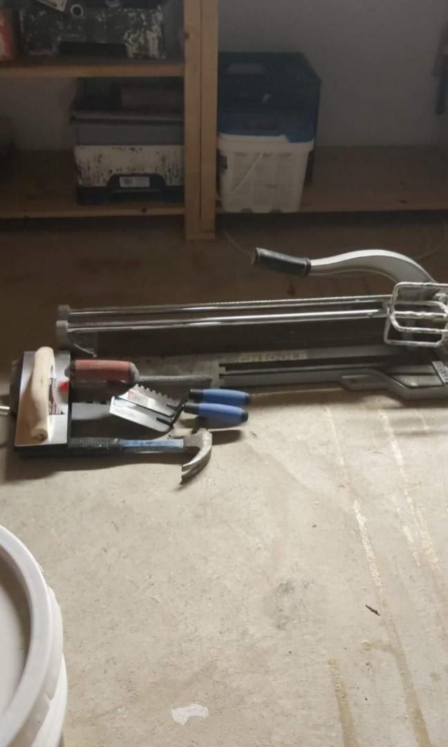Tile cutters and plaster mixer