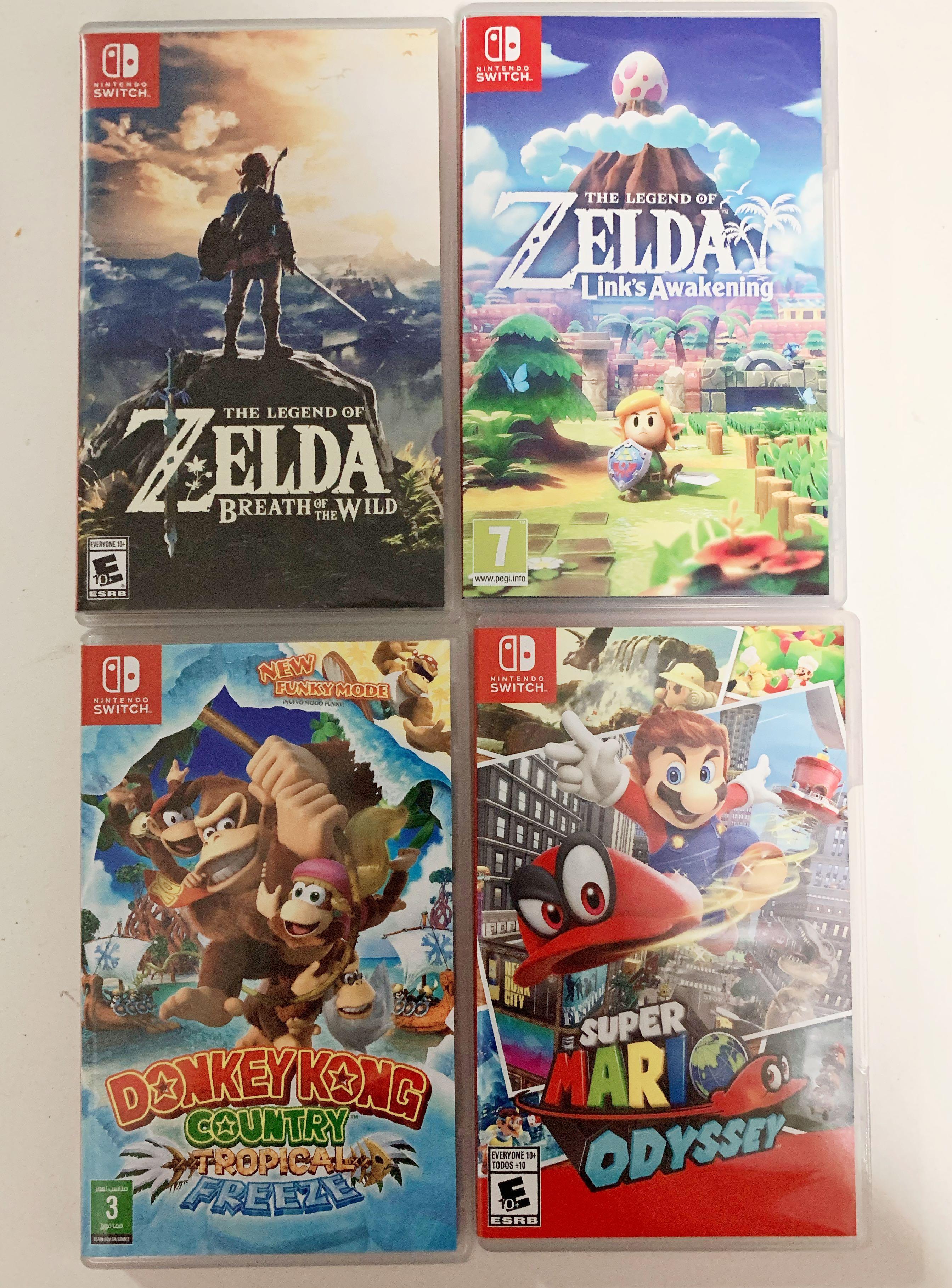 Zelda link's awakening, Zelda BOTW, Super Mario Odyssey, Donkey Kong RENTAL