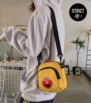 Elmo cute trendy sling bag (yellow & black)