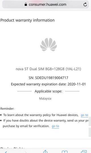Huawei Nova 5T warranty 1-11-2020
