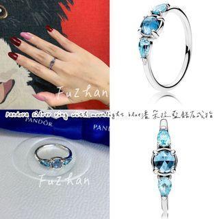 Pandora silver ring with moonlight blue潘朵拉藍鋯石戒指