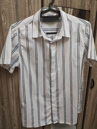 Pull& Bear Striped blue and white top collar