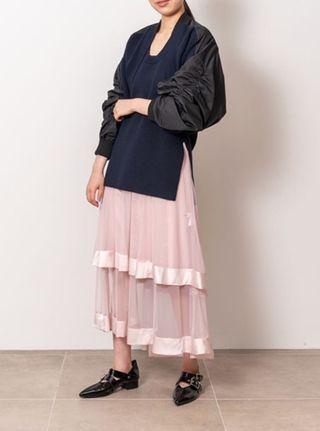 (🇯🇵日本代購)日幣¥25,300円【FURFUR】高級進口面料纖細柔軟層層疊疊粉色薄紗裙 (內層+外紗分開兩件組)
