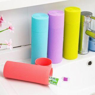 戶外露營旅行便式防滑刷牙杯牙牙膏刷收納盒~顏色隨機