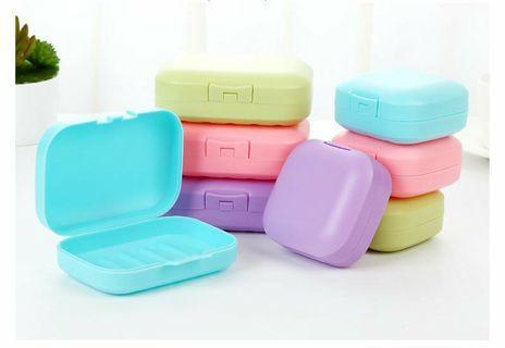 (大*2+小*2)露營旅行便攜肥皂盒瀝水洗臉皂盒創意帶蓋密封防水香皂盒~樣式隨機