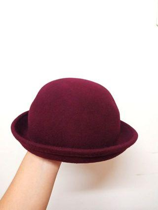 酒紅圓頂小禮帽