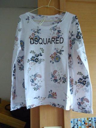 韓系碎花花朵字母百搭甜美棉質長袖T恤上衣
