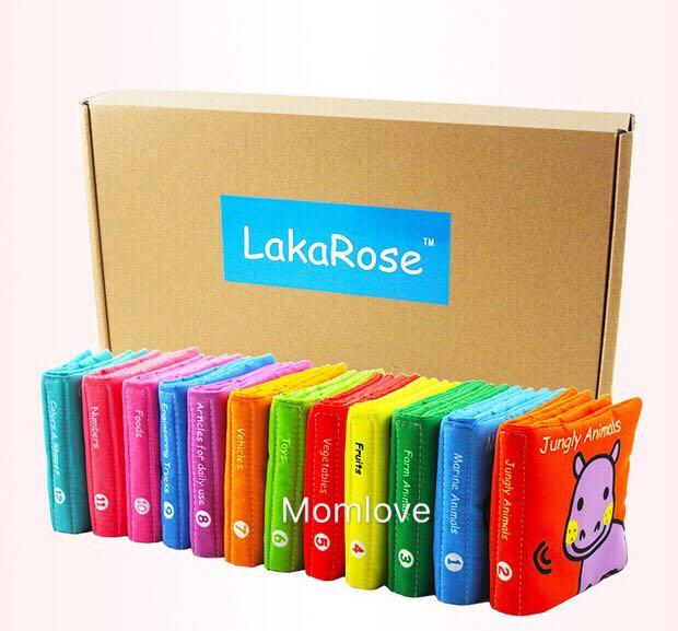 ❤️Ready Stock🔥Brand New with Box Lakarose Rainbow Baby Early Development Educational Cloth Book (Set of 12 books - English Version) for 0m+