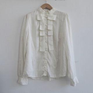 韓國製 設計師款宮廷立體摺 華麗白襯衫 吸血鬼風格