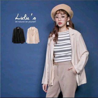 Lulu's 單釦墊肩薄料西裝外套 黑色
