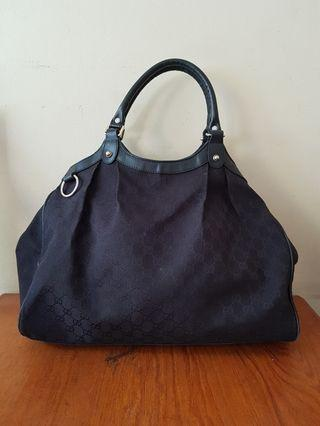 Handbag Gucci canvas mix leather