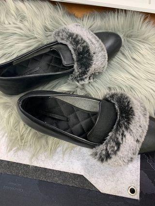 Zara shoes black fur