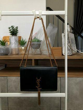 YSL Sling Bag  Leather Tassel Embossed