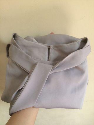 Grey tied blouse