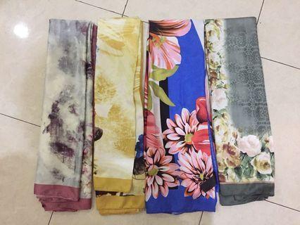 kerudung segiempat hijab jilbab square scarf satin motif murah harga per pc
