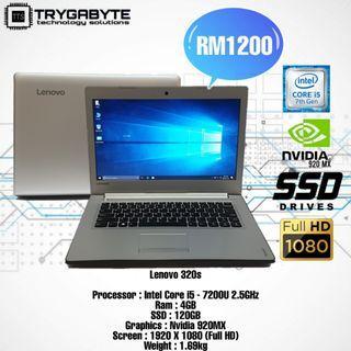 """lenovo 320s-14ikb / Intel Core i5-7200U / 4GB Ram / 120GB SSD / Nvidia 920MX / 14.0"""" inch Full HD / 1.69kg"""