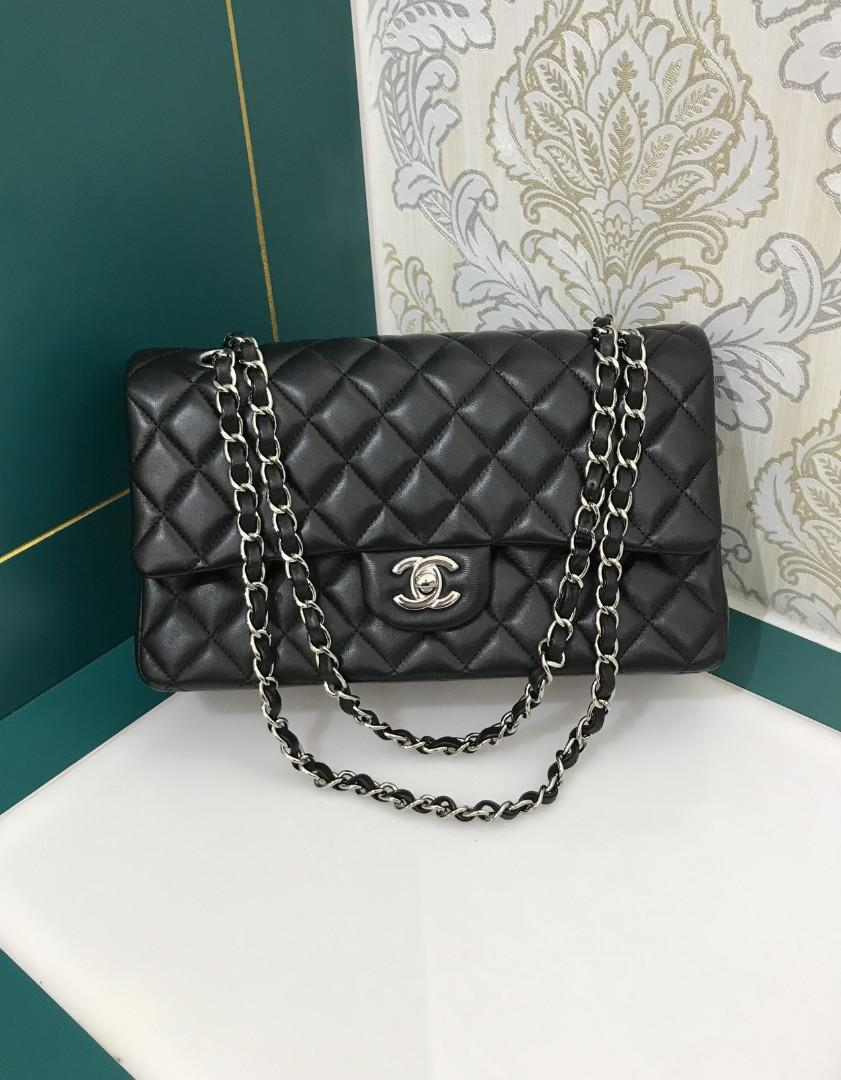 #19 BNIB Chanel Classic Double Flap Black Lamb with RHW