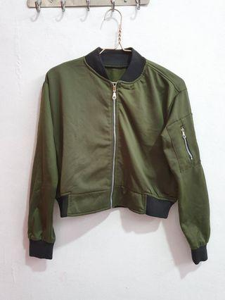 Bomber Jacket Army Crop Top