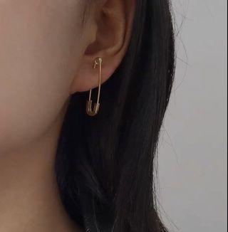單只售 s925銀彎曲別針氣質耳釘男女情侶個性耳環