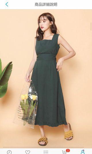 韓標-墨綠無袖下荷葉洋裝