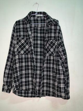韓版 格紋編織外套 M號