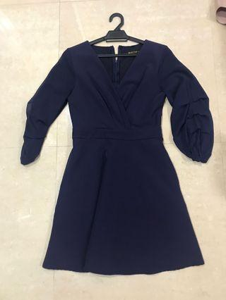 Blue dress with puffy sleeve size S