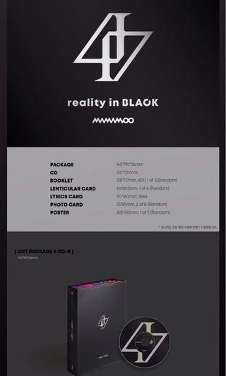 [ MY G.O ] MAMAMOO - Reality in Black Album