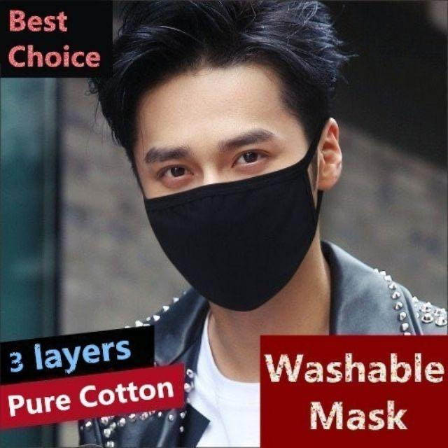 #1111 4 PIECES Washable Korean Elegant Comfortable Anti Haze Black Mouth Face Mask