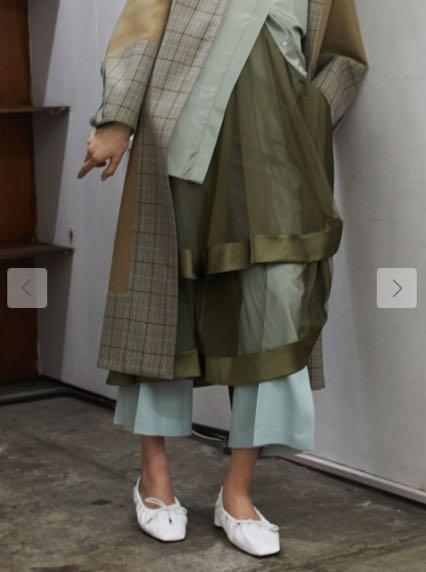 (🇯🇵日本代購)日幣¥25,300円【FURFUR】高級進口面料纖細柔軟層層疊疊綠色薄紗裙 (內層+外紗分開兩件組)