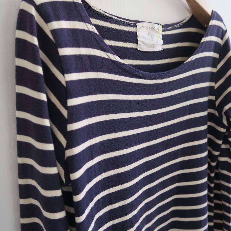 日本品牌 海軍藍條紋棉質口袋洋裝