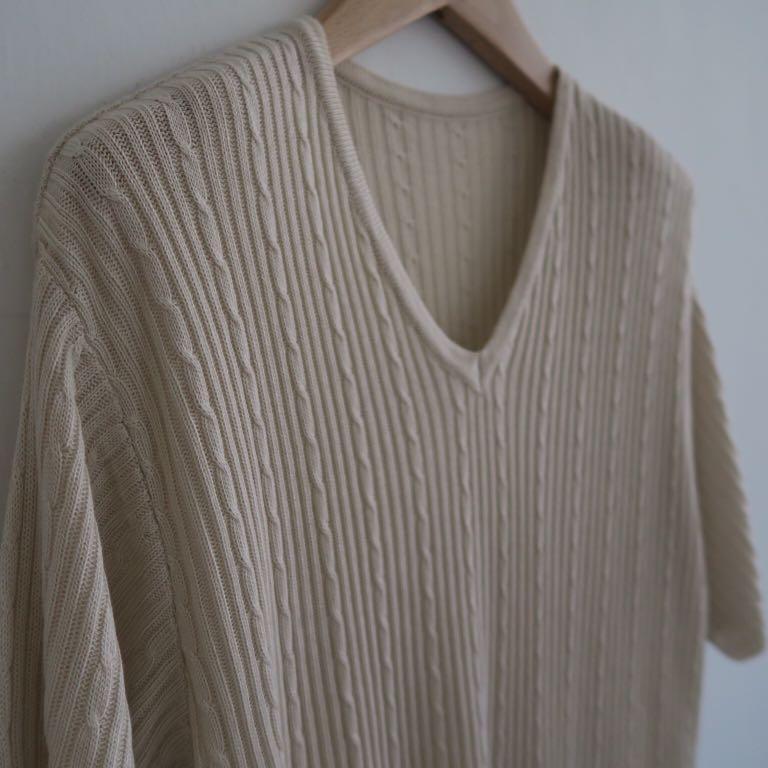 日本製 大地色系鎖鏈紋立體織法 開衩長版針織衫