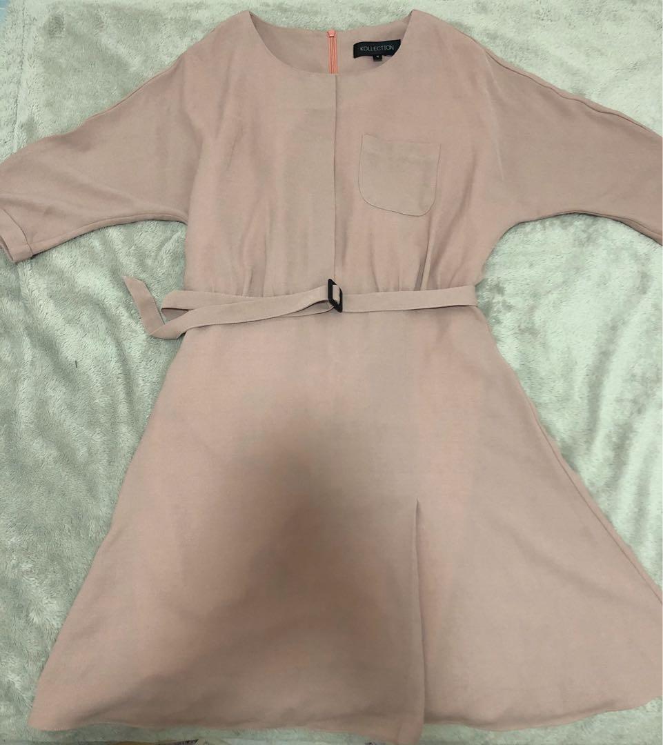 韓國 粉色 連身 斯文裙