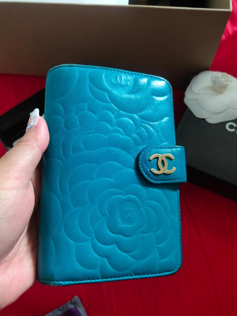 💖 PreLoved CHANEL Camellia French wallet Camelia Flower Compact Bi Fold Emerald blue Turquoise Lambskin Zip Zipper zipped Around Medium With Matt Gold Hardware camelia