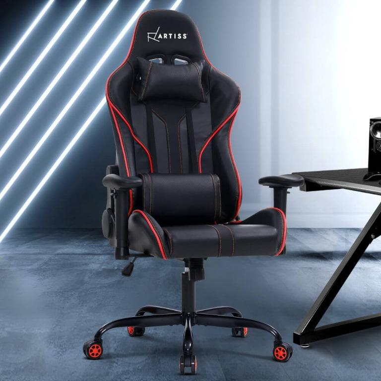Artiss Gaming Office Chair Computer Chairs Leather Seat Racing Racer Recliner Meeting Chair Black Red