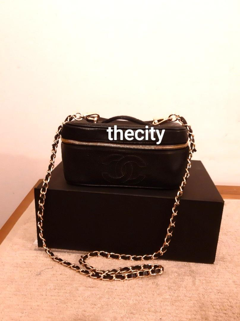AUTHENTIC CHANEL CAVIAR LEATHER VANITY BAG - BLACK COLOR - GOLD HARDWARE- WITH EXTRA LONG CHAIN STRAP FOR CROSSBODY SLING - CAVIAR LEATHER IN BEAUTIFUL CONDITION, CLEAN INTERIOR - SENT TO BAG SPA : INTERIOR NEWLY RELINED WITH SUEDE LEATHER & NEW ZIP PULL