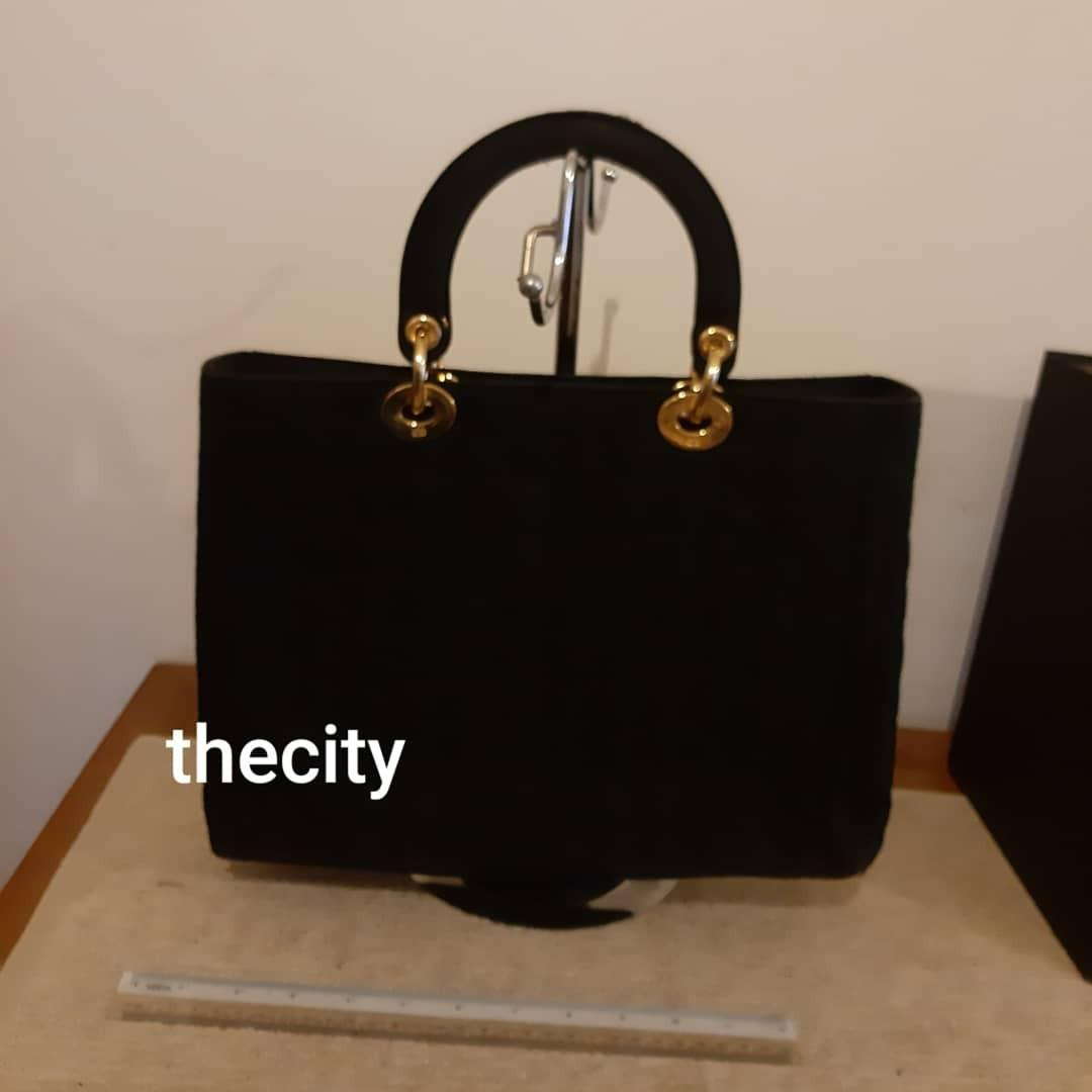 AUTHENTIC DIOR LARGE LADY DIOR BAG - BLACK SUEDE MICROFIBER - GOLD HARDWARE- CHARMS INTACT- CLEAN INTERIOR & POCKETS - COMES WITH FREE PAIR OF TWILLY SILK HANDLE SCARF- (LADY DIOR BAGS NOW RETAIL OVER RM 17,000+)