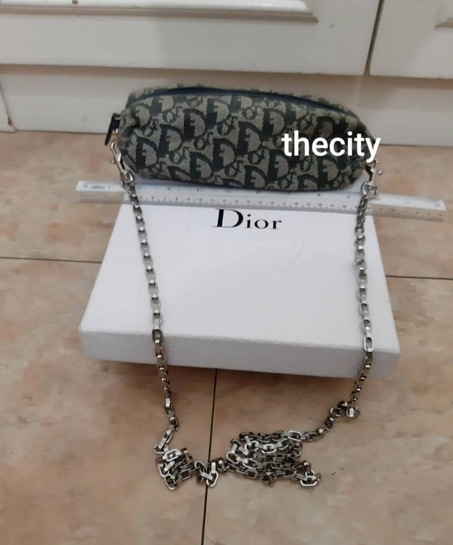AUTHENTIC DIOR MONOGRAM LOGO DESIGN VANITY POUCH BAG - BLUE COLOR - IN GOOD CONDITION- CLEAN INTERIOR - WITH EXTRA DIOR LONG CHAIN STRAP FOR CROSSBODY SLING - (DIOR MONOGRAM LOGO DESIGN BAGS NOW RETAIL OVER RM 10,000+)