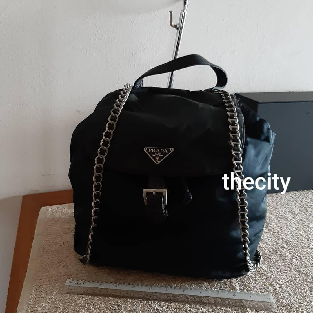 AUTHENTIC PRADA BIG CHAIN SHOULDER STRAP NYLON CANVAS BACKPACK - GOOD CONDITION,  CLEAN INTERIOR LINING - RARE CHAIN STRAP DESIGN , EXTREMELY HARD TO SOURCE IN RESALE MARKET- (PRADA BACKPACKS NOW RETAIL AROUND RM 6000+)