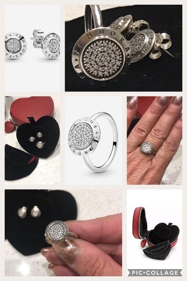 Beautiful PANDORA PAVE Sterling Silver Ring & Matching Earrings