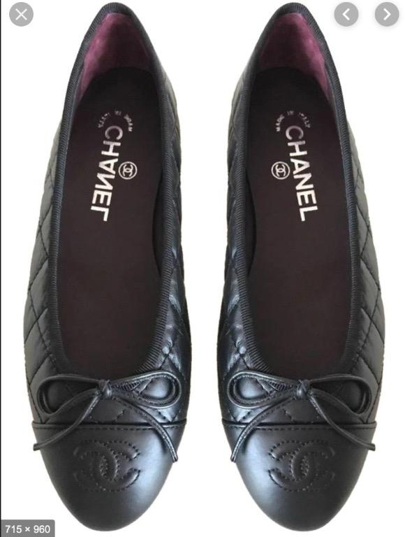 Black Quilted Leather Ballet Flats Logo (Not Chanel)