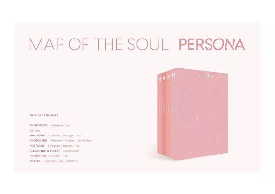 BTS MAP OF THE SOUL PERSONA ALBUM-CD +Photo Bk +2P Photo Cards +Film Officially Factory Sealed