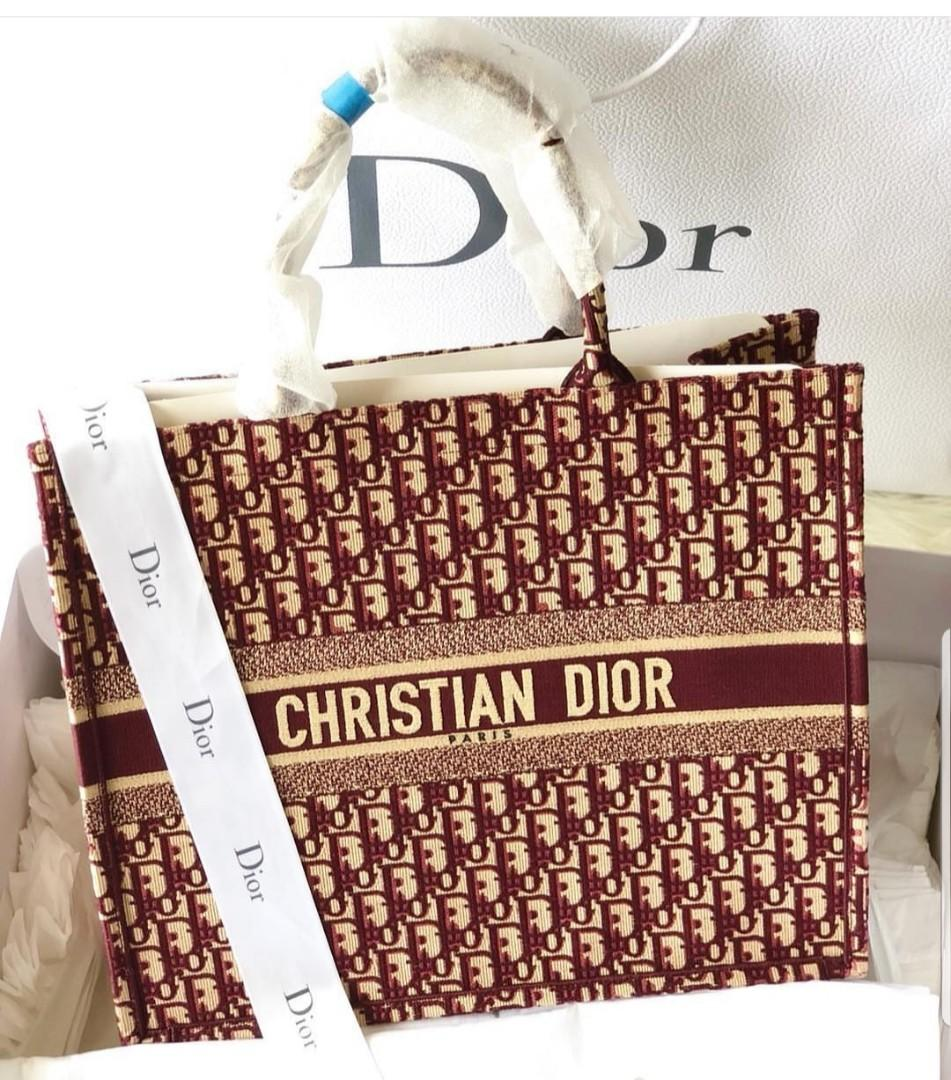 Dior Book Tote Oblique in Burgundy color 100% authentic